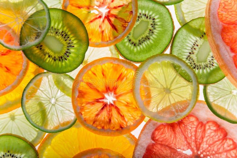 明亮的新柑橘切片,后面清淡的透明果子 免版税库存照片