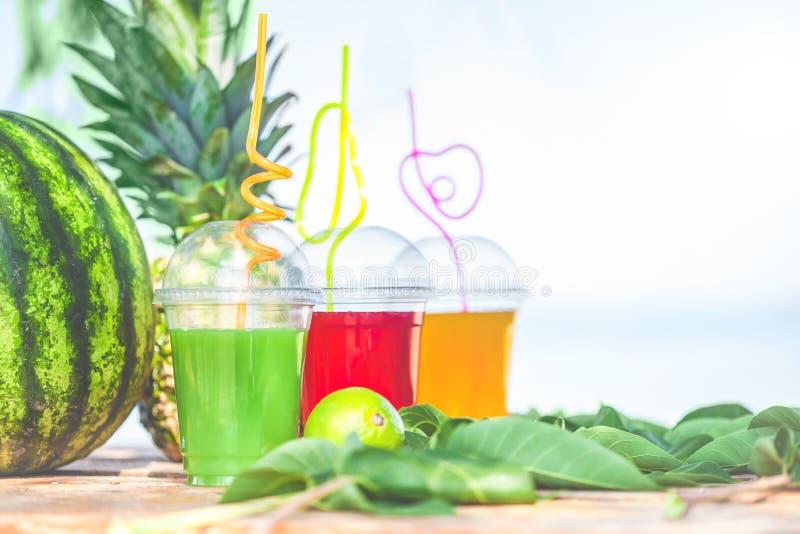 明亮的新鲜的健康汁液,果子,菠萝,在海的背景的西瓜 夏天,休息,健康生活方式 免版税库存图片