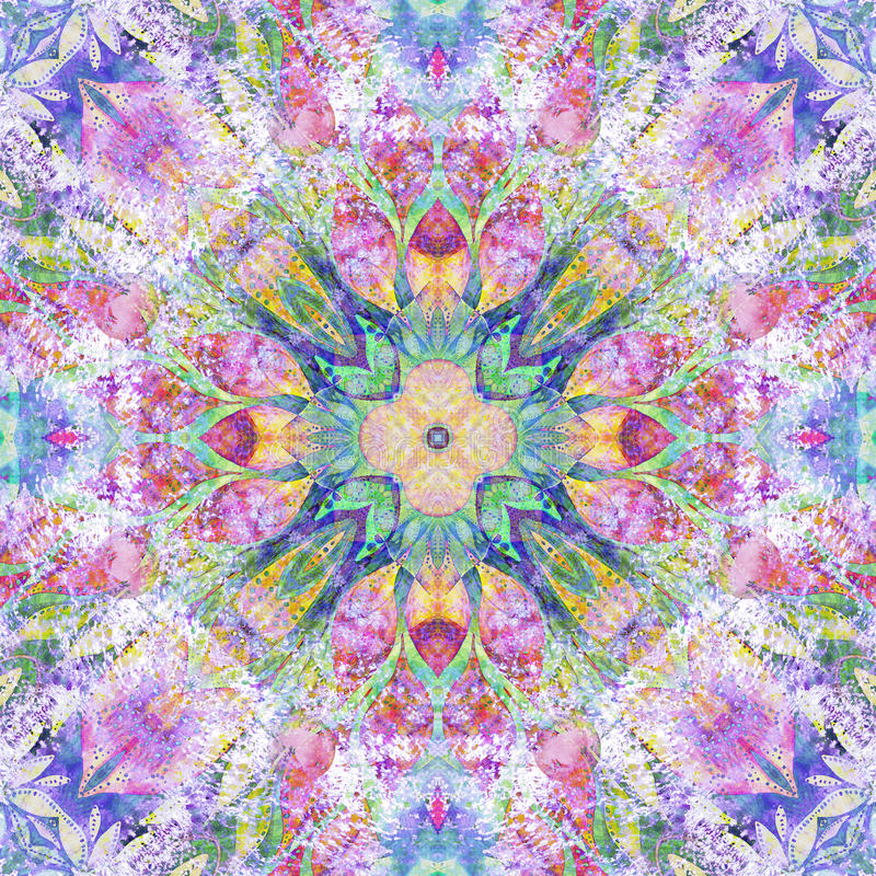 明亮的无缝的五颜六色的种族印地安样式 与手工制造水彩的拼贴画弄脏,瓣,叶子,花 蜡染布样式后面 皇族释放例证