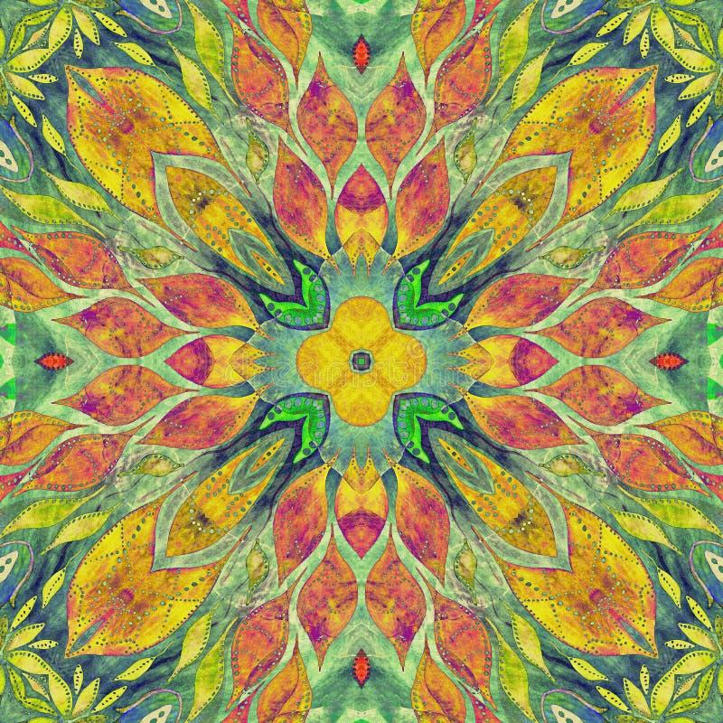 明亮的无缝的五颜六色的道德印地安样式 与手工制造水彩的拼贴画弄脏,瓣,叶子花 蜡染布样式 皇族释放例证