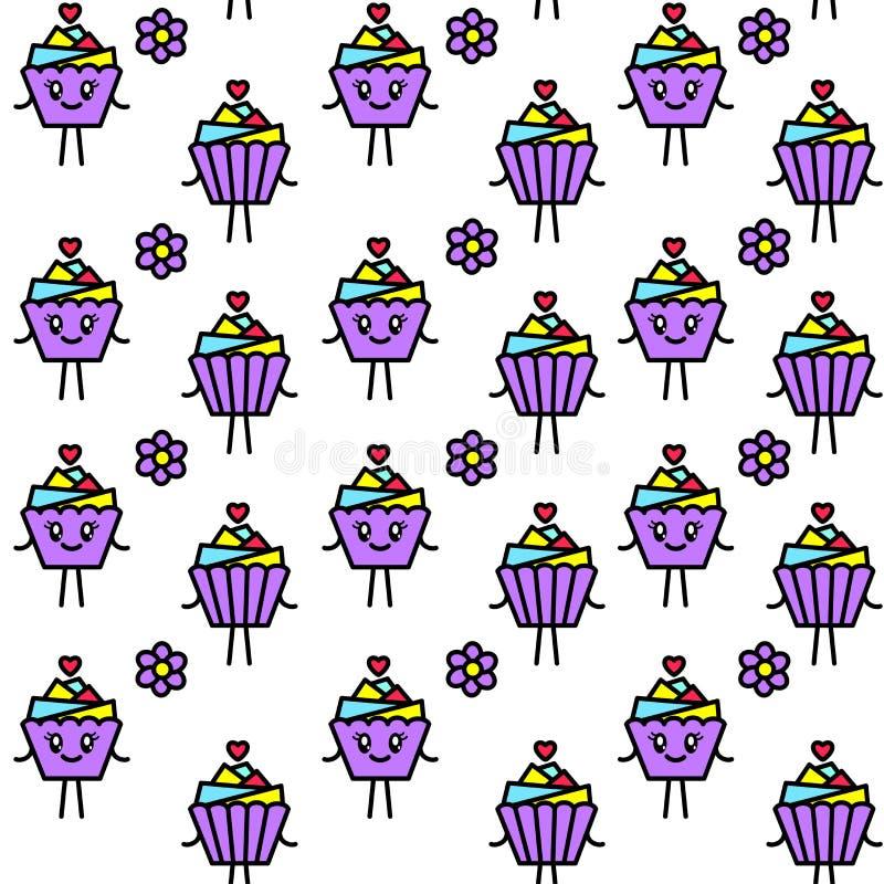 明亮的无缝的样式用在kawaii样式的杯形蛋糕 向量例证