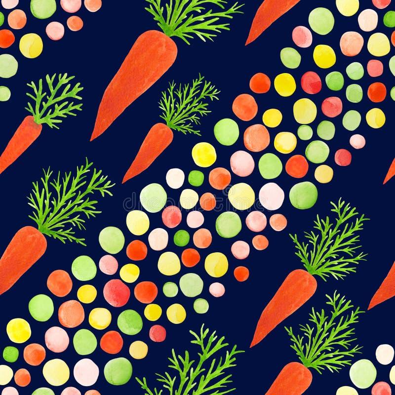明亮的无缝的样式用小女孩的,公主水彩红萝卜,在庭院里使用 无缝的样式机智 库存例证