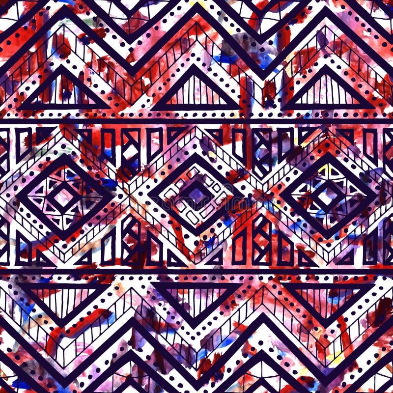 明亮的无缝的模式 水彩纹理 种族和部族 库存例证