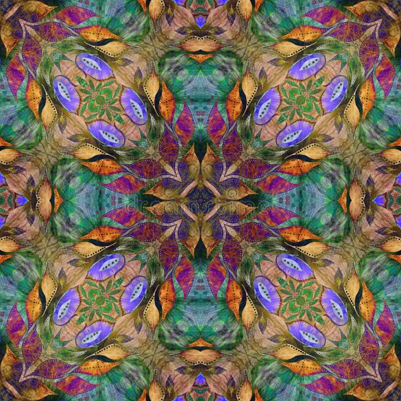 明亮的无缝的难看的东西五颜六色的种族印地安样式 与手工制造水彩的拼贴画弄脏,瓣、叶子和花 细麻花布 库存例证