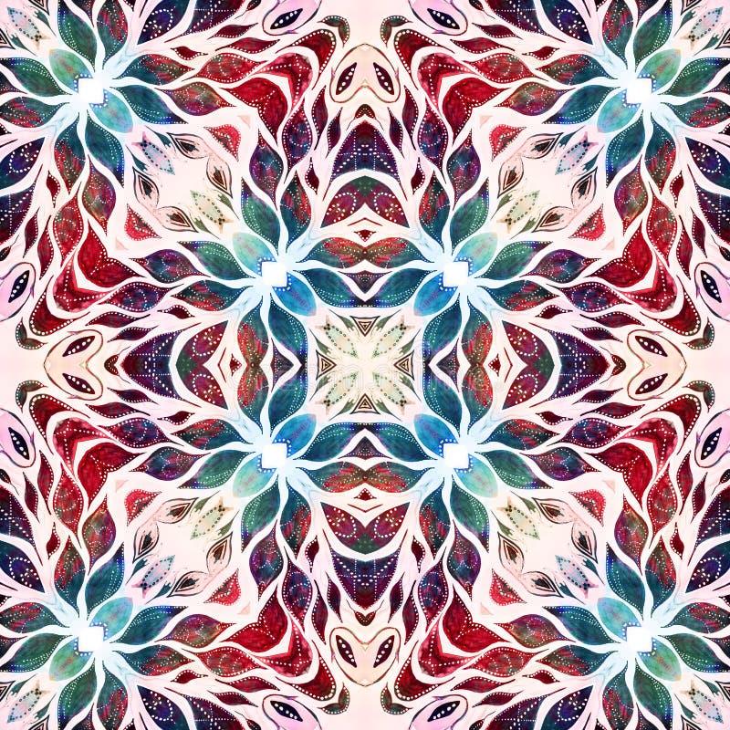 明亮的无缝的难看的东西五颜六色的种族印地安样式 与手工制造水彩的拼贴画弄脏,瓣、叶子和花 细麻花布 向量例证