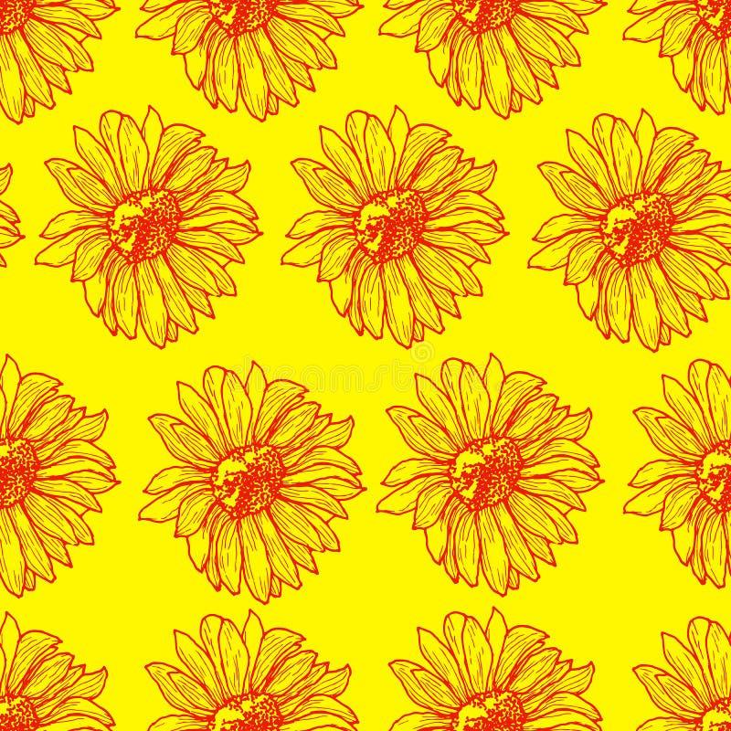 明亮的晴朗的花卉无缝的样式用向日葵 皇族释放例证