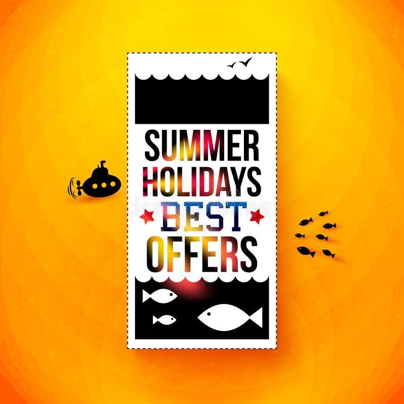 明亮的暑假海报。印刷术设计。传染媒介illustr 库存例证