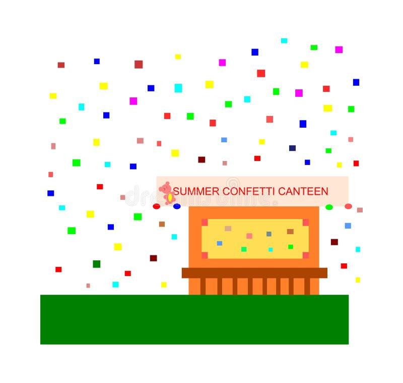 明亮的有吸引力的五颜六色的虚构的夏天五彩纸屑军用餐具传染媒介例证 库存例证