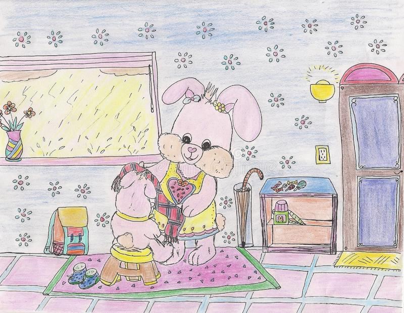 明亮的有吸引力的愉快的微笑的桃红色动画片小兔在家例证2019年 库存例证