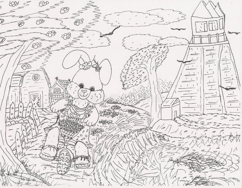 明亮的有吸引力的逗人喜爱的画的剪影愉快小兔循环 皇族释放例证