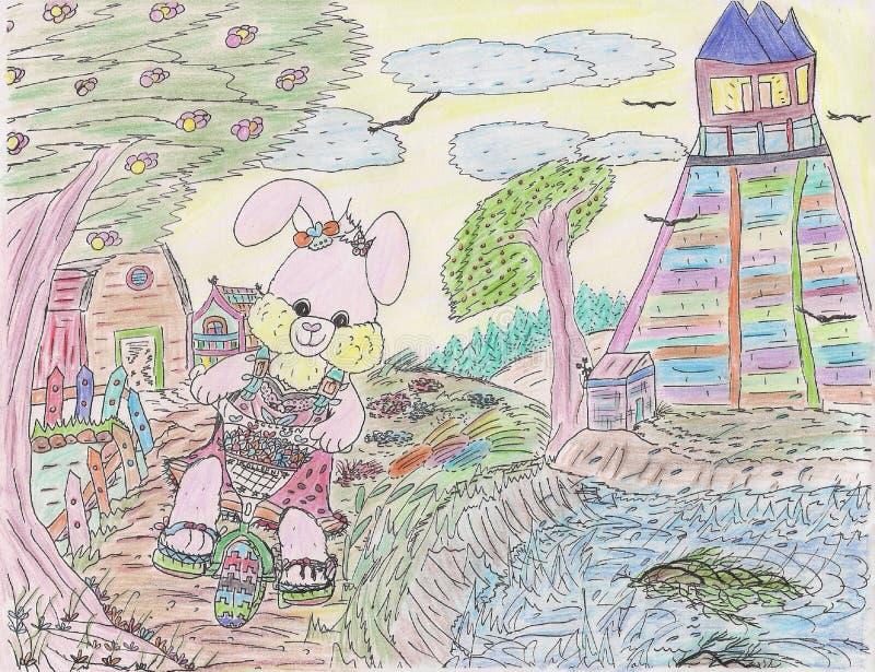 明亮的有吸引力的颜色剪影愉快微笑的女孩小兔循环 库存例证
