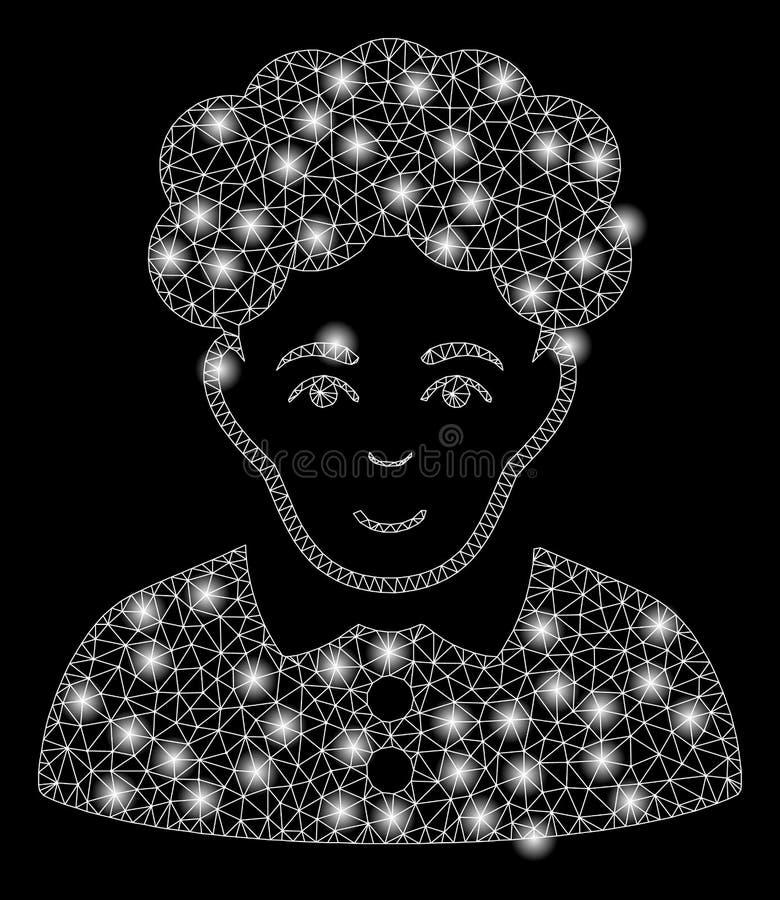 明亮的有火光斑点的滤网导线框架深色的妇女 皇族释放例证