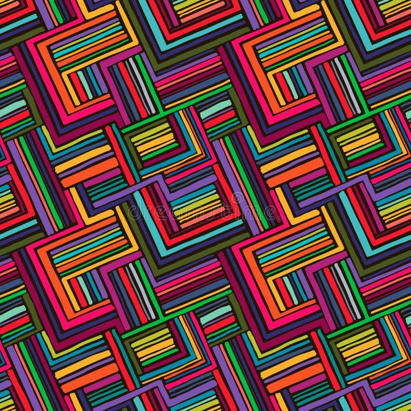 从明亮的条纹用手得出的无缝的几何样式 向量例证