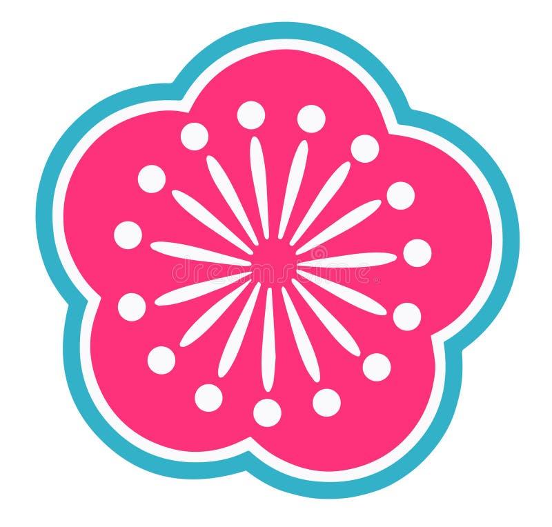 明亮的桃红色和小野鸭蓝色日本风格装饰风格化樱花花 皇族释放例证
