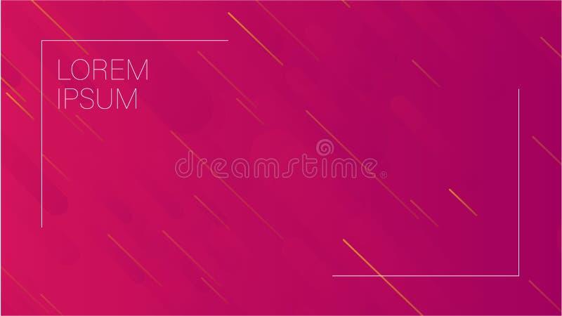 明亮的桃红色和紫色五颜六色的几何动力学塑造与白色框架空间的背景文本的 在桃红色的传染媒介例证 库存例证