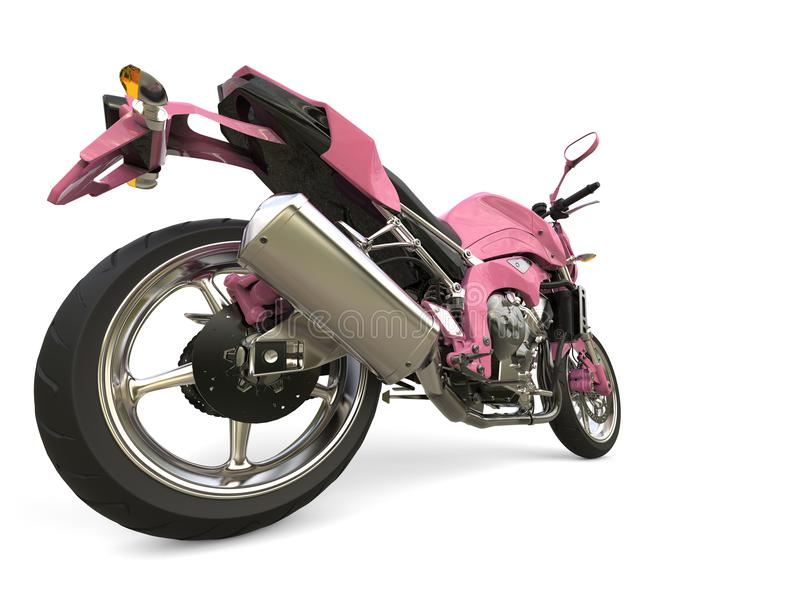 明亮的桃红色现代摩托车-后轮特写镜头射击 库存照片