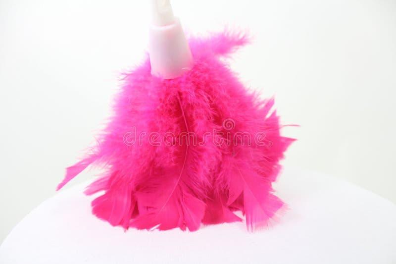 明亮的桃红色羽毛喷粉器 库存图片