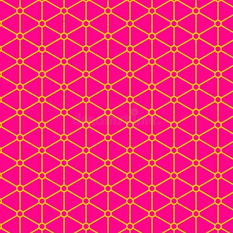明亮的桃红色黄色几何东方无缝的样式 向量例证
