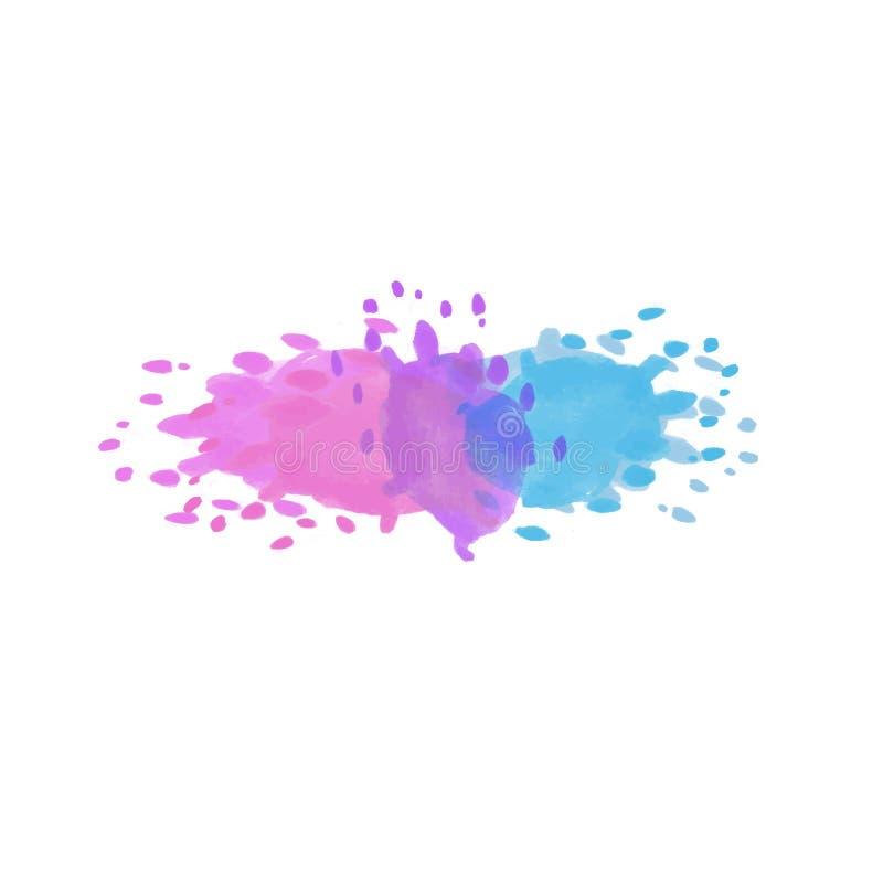 明亮的桃红色,紫色和蓝色液体水彩传染媒介隔绝了s 向量例证