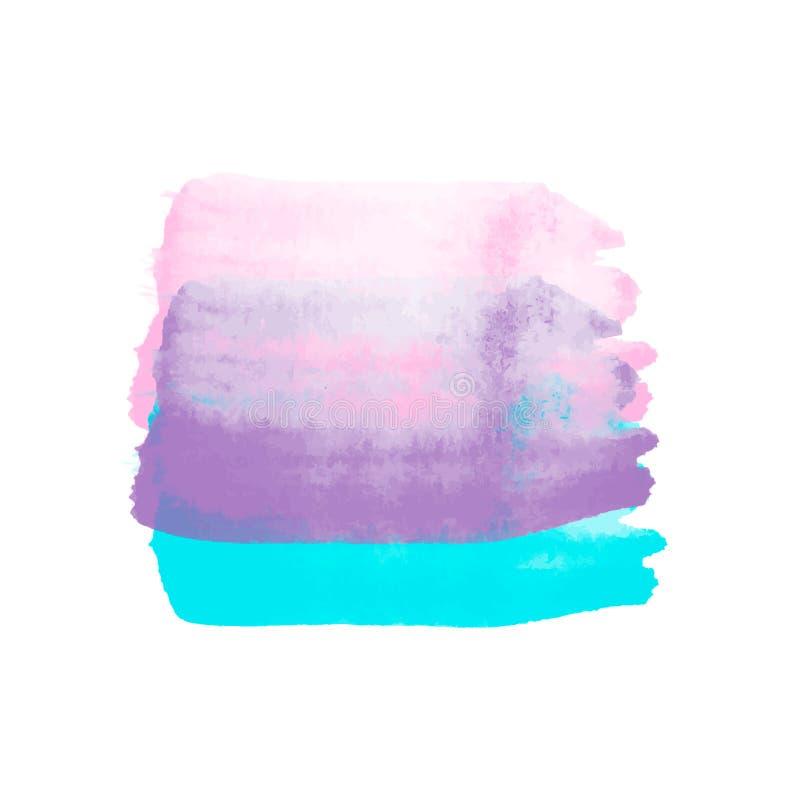 明亮的桃红色,紫色和蓝色液体水彩隔绝了s 向量例证