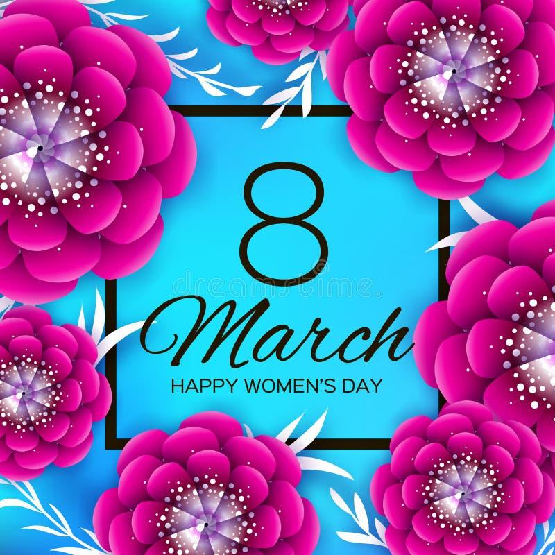 明亮的桃红色Origami花 愉快的妇女天 3月8日 时髦母亲节 纸被削减的异乎寻常的热带花卉问候 向量例证