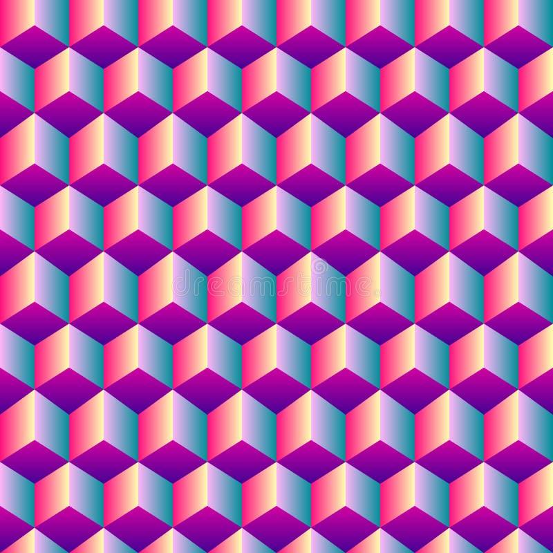 明亮的梯度立方体无缝的样式 向量例证