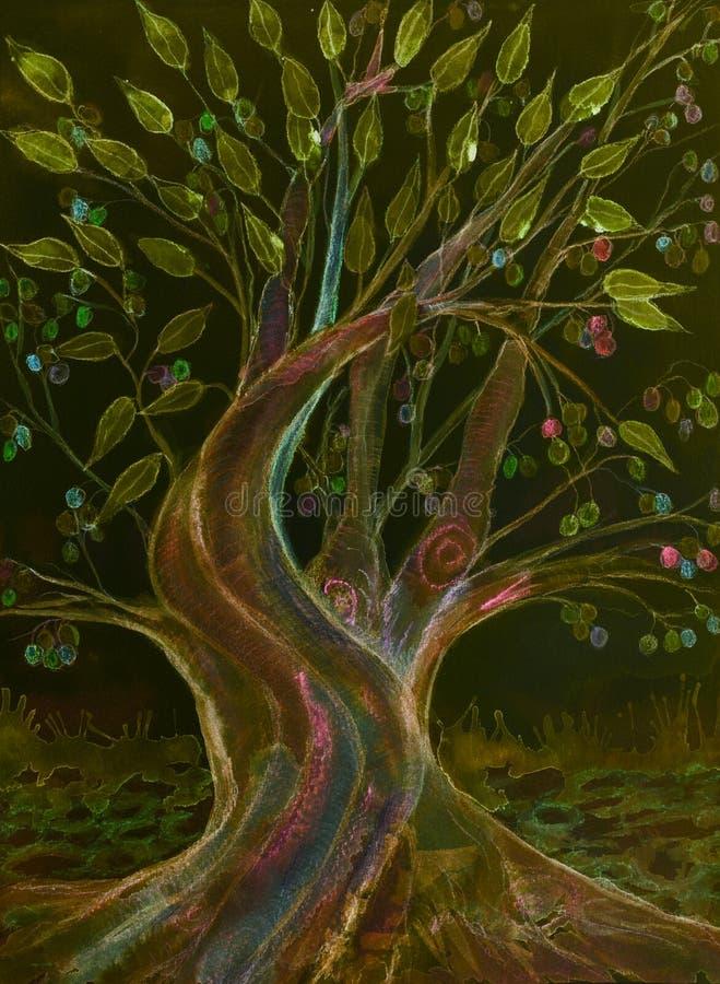 明亮的橄榄树用五颜六色的橄榄在晚上 库存例证