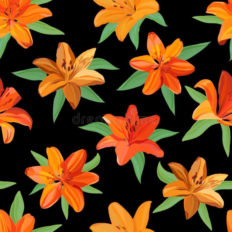 明亮的橙色和黄色百合的无缝的样式与绿色叶子的在黑背景 库存例证