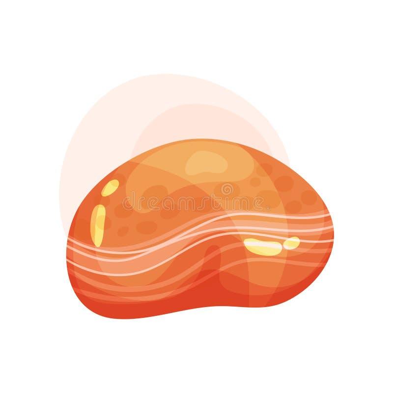 明亮的橙色宝石平的传染媒介象与光滑的表面的 发光的宝石 海报或流动比赛的元素 库存例证