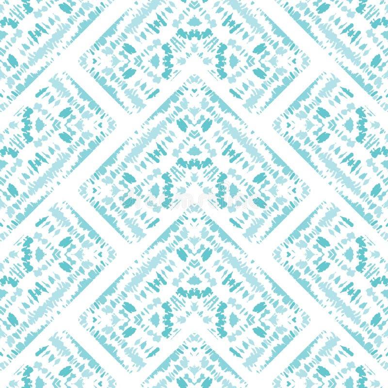 明亮的水色单色领带染料Shibori万花筒反映了在白色背景传染媒介无缝的样式的V形臂章 皇族释放例证