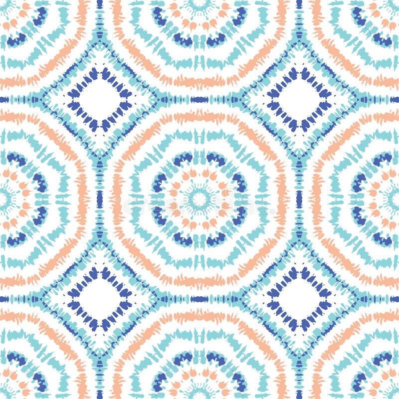 明亮的水色,橙色和蓝色领带染料Shibori镶有钻石的旭日形首饰的万花筒反映了六角形坛场传染媒介无缝的样式 向量例证