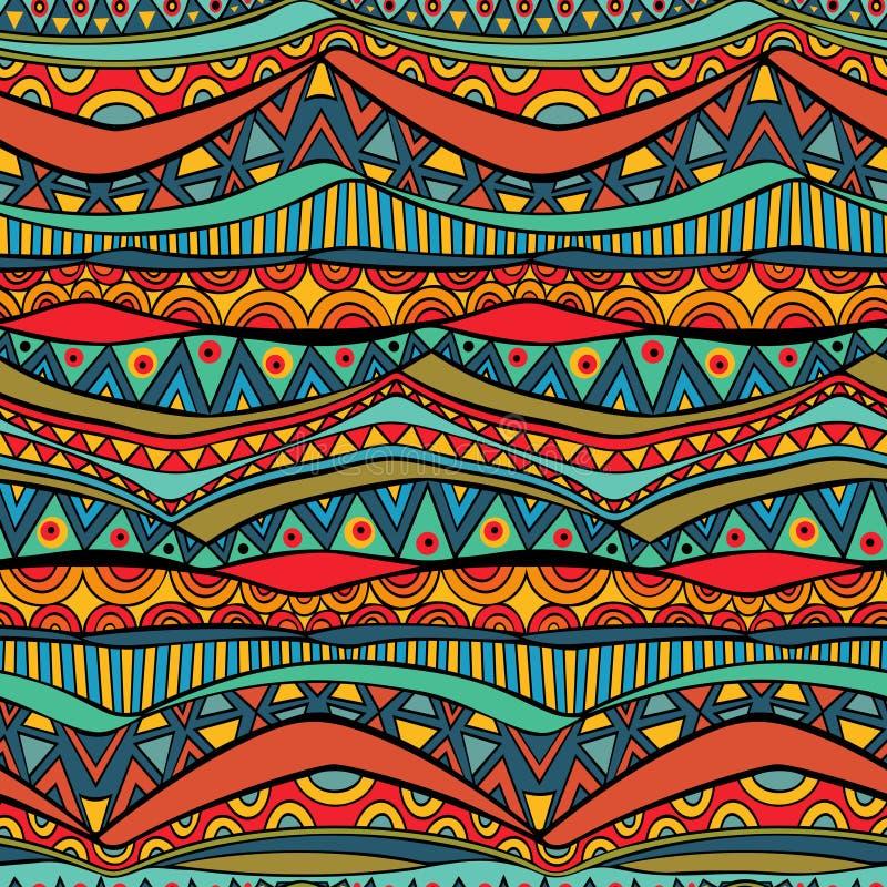 明亮的波浪部族无缝的装饰品 库存例证