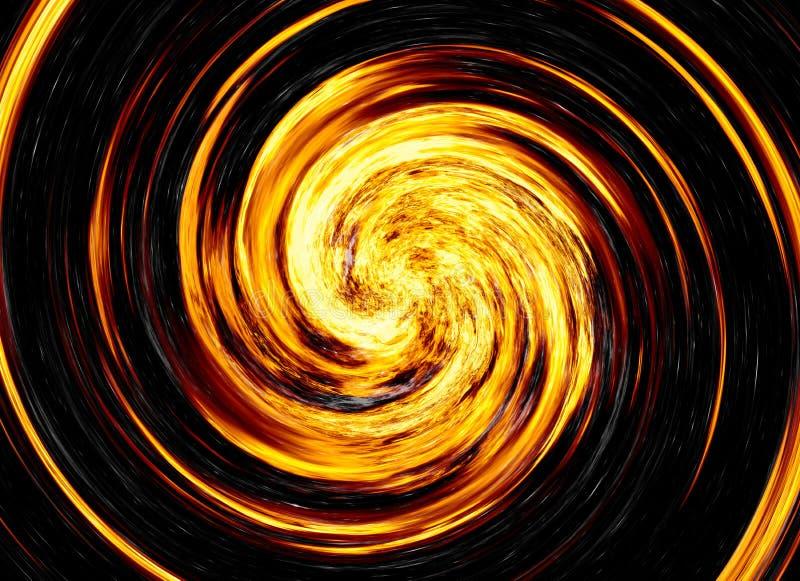 明亮的爆炸闪光转动在黑背景的。火爆炸 库存照片