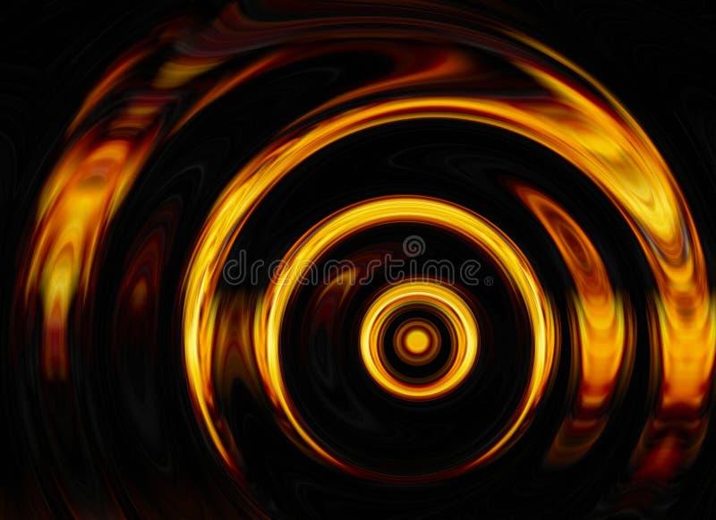 明亮的爆炸闪光转动在黑背景的 向量例证
