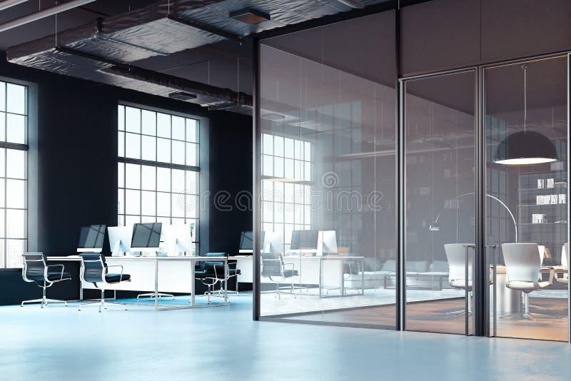 明亮的现代办公室内部与开放工作区 3d翻译 向量例证