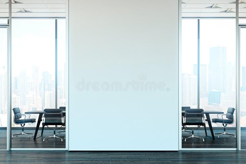 明亮的现代办公室内部与开放工作区 3d翻译 库存例证