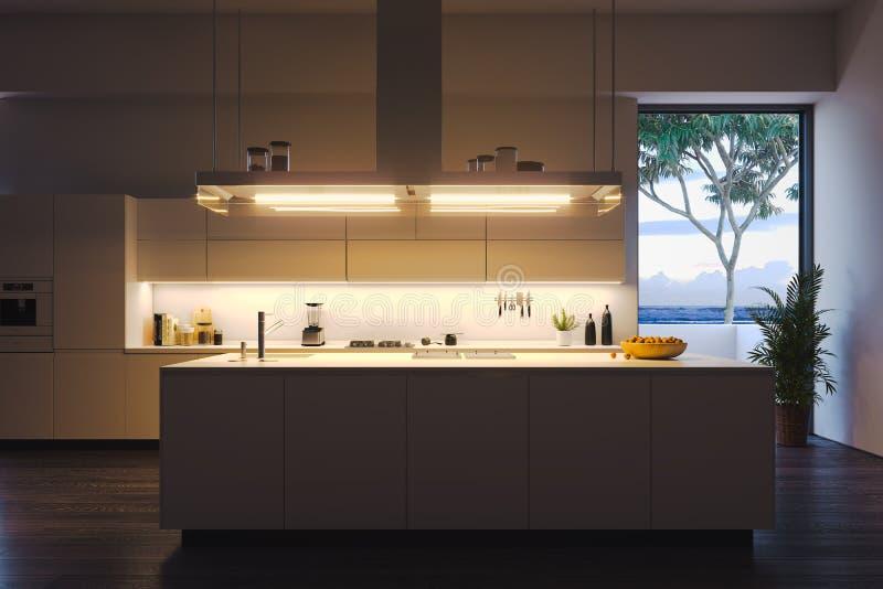 明亮的现代时髦的厨房内部有大窗口和桌的 3d?? ?? 向量例证