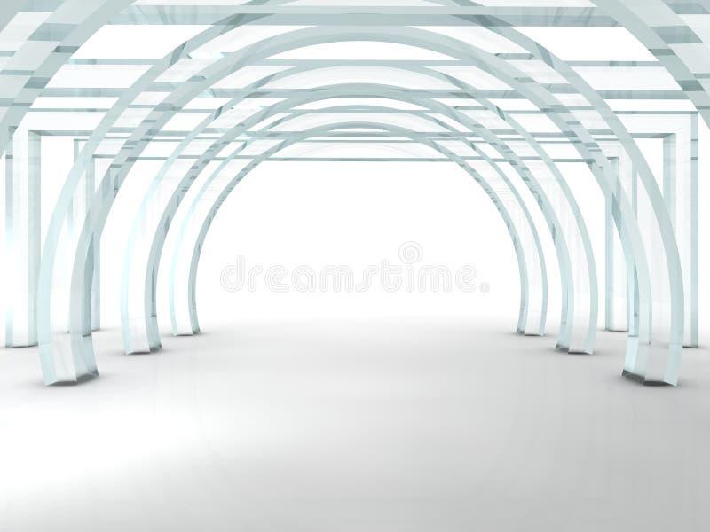 明亮的玻璃走廊或隧道 向量例证