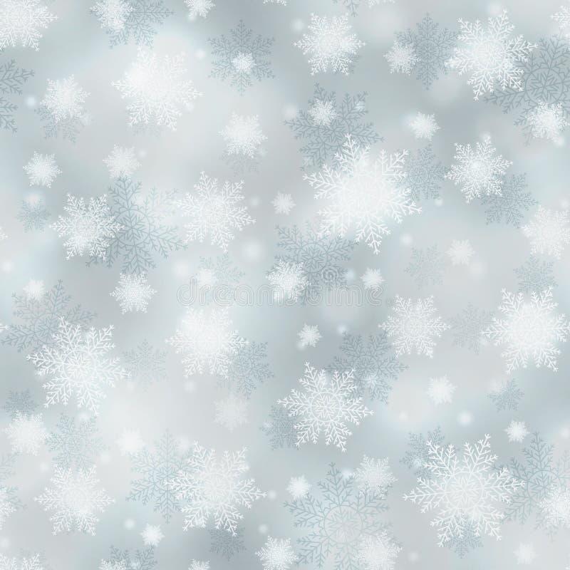 明亮的白色和灰色传染媒介圣诞节背景,无缝的样式 皇族释放例证