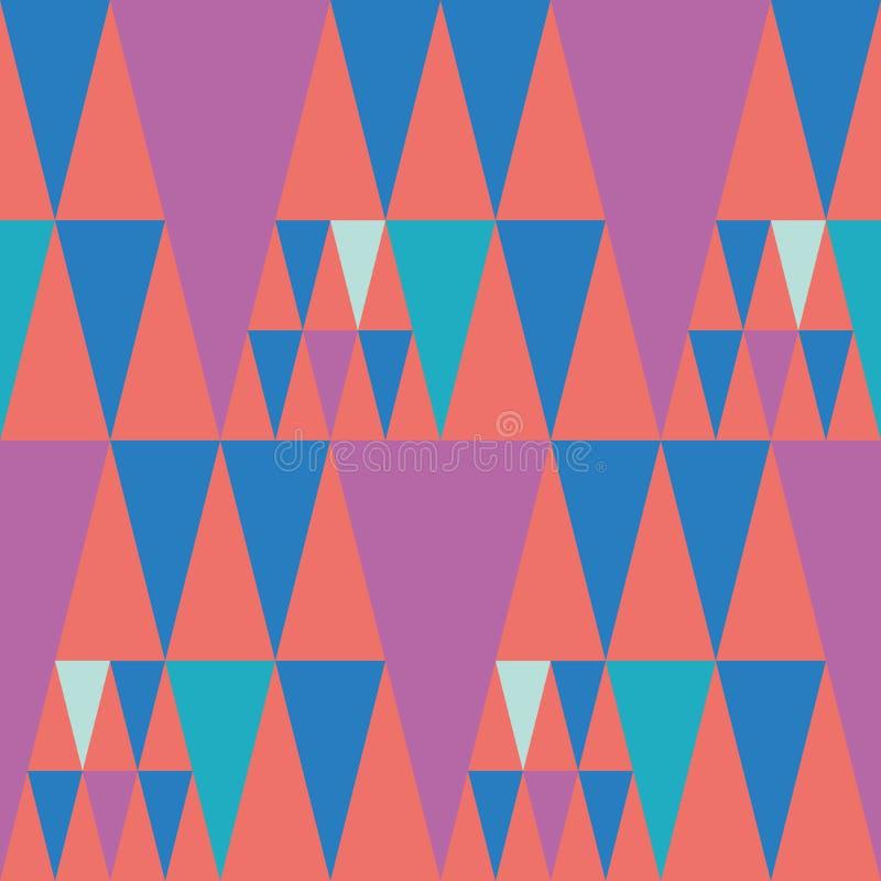 明亮的短打的样式桃红色和蓝色三角设计在珊瑚颜色背景 与热的节日的无缝的传染媒介样式 向量例证