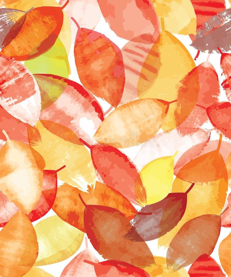 明亮的秋叶的无缝的样式在难看的东西样式的 库存例证