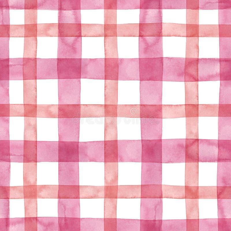 明亮的粉红彩笔格子花呢披肩方格的无缝的样式 水彩条纹和线在白色背景 苏格兰男用短裙印刷品 库存照片