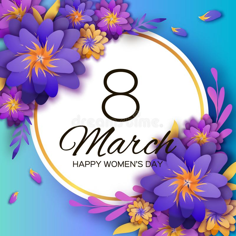 明亮的紫罗兰色Origami花 愉快的妇女天 3月8日 时髦母亲节 纸被削减的异乎寻常的热带花卉问候 向量例证