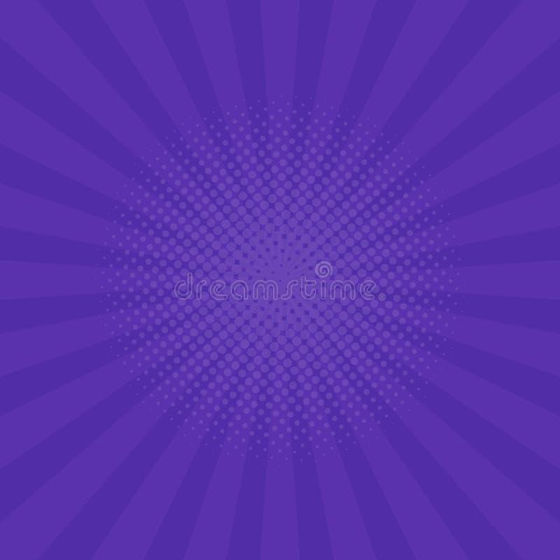 明亮的紫色光芒背景 漫画,流行艺术样式 向量 向量例证