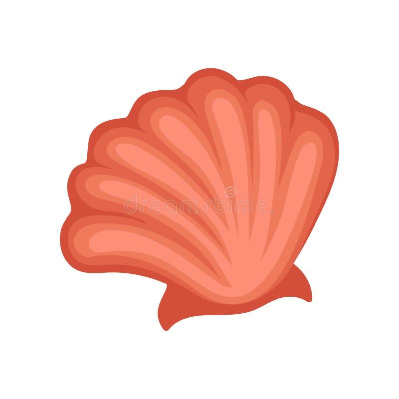 明亮的红海壳 海洋对象 海洋生活题材 儿童图书、贴纸或者明信片的平的传染媒介元素 库存例证