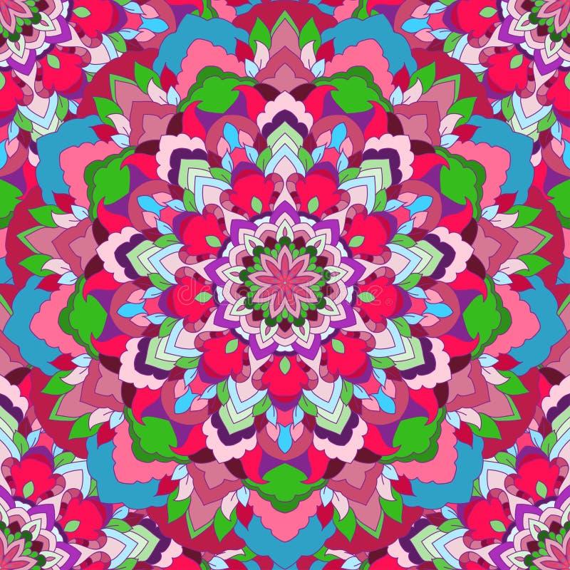 明亮的红色与许多细节的手图画装饰花卉抽象无缝的背景丝绸颈巾设计的  皇族释放例证