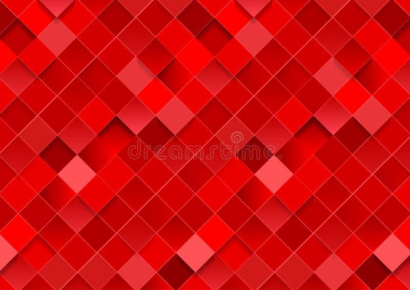 明亮的红色几何正方形马赛克摘要背景 库存例证