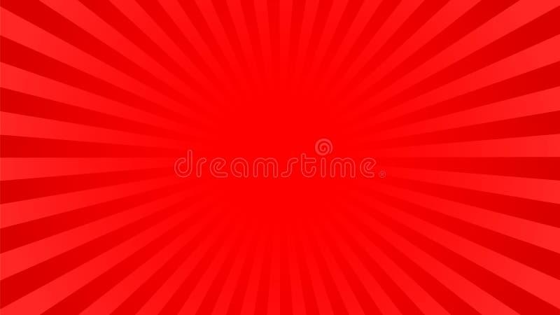 明亮的红色发出光线背景 向量例证
