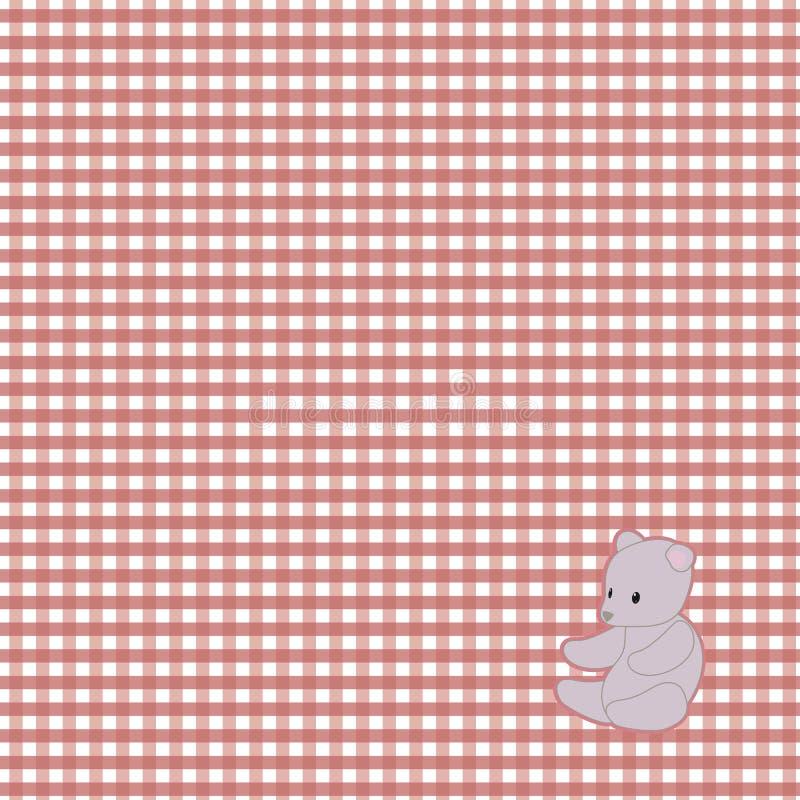 明亮的红色方格的与一块灰色软的熊玩具背景桌布餐巾的婴孩传染媒介无缝的样式 库存例证