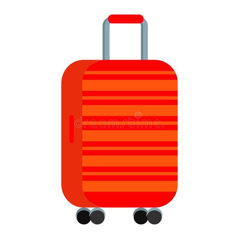 明亮的红色的传染媒介例证带着橙色条纹大聚碳酸酯纤维旅行塑料手提箱的有轮子的 向量例证